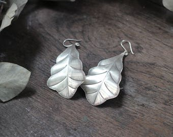 Silver leaf earrings,Silver Leaves Earrings,Hilltribe jewelry,Handmade silver, Nature Jewelry, Gift For Her