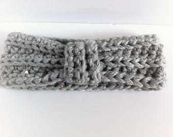 Grey crochet bow headband