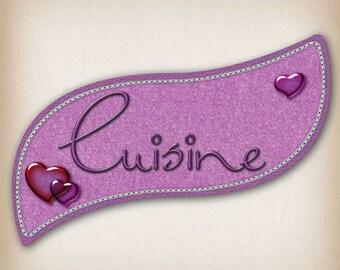 Sticker style Denim 011 kitchen door sign