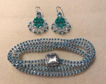 Triple Wrap Bracelet and Earring set