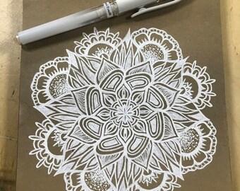Mandala | white gel pen