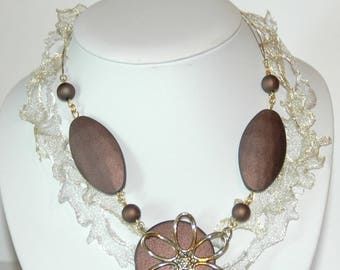Crystal acrylic chocolate and ecru organza Ribbon necklace