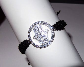 Black macrame bracelet and charm hand of Fatima with multitude of rhinestones