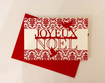 """Greeting card """"Joyeux Noel"""" - red and white series"""