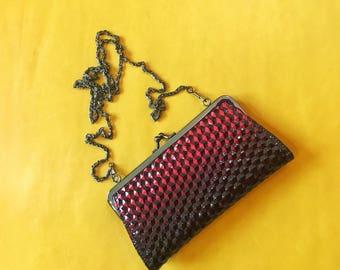 Vintage Red & Black Clutch Cross Body Purse