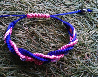 Pretty pink and purple macrame bracelet