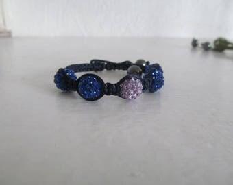Shamballa bracelet Navy Blue and purple