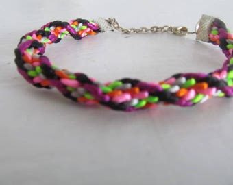 Beautiful kumihimo bracelet multicolor #6 charm