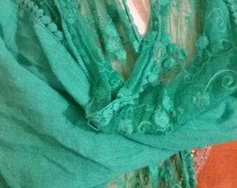 Nice scarf silk, cotton and lace