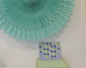 Wallet, original and chic, blue, triangles, geometric
