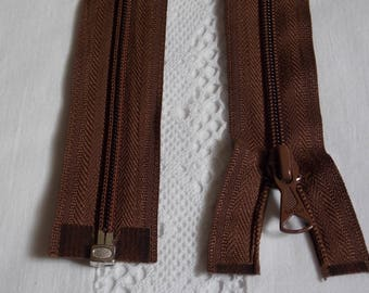 Detachable 40 cm dark brown zipper