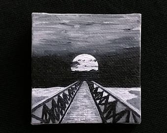 """Oil Painting Real, Wall Art, Canvas Art, Original Hand Painted """"Pier in the Moonlight"""""""