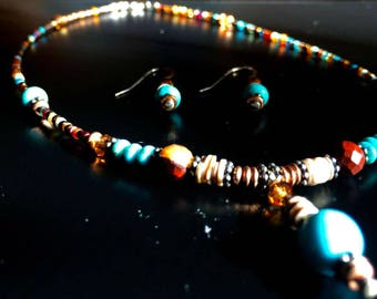Handcrafted Kingman Turquoise Necklace+Earring Set---Elegant, Creative, Genuine