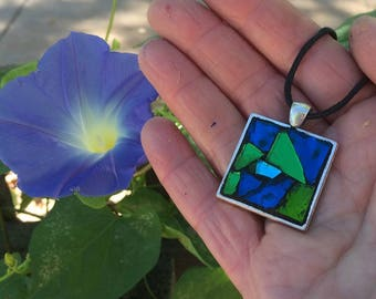 Mosaic Jewelry/Mosaic Necklace Pendant/Mosaic Pendant/Blue and Green Stained Glass Pendant/Wearable Art/Gift for Her Under 30/Mosaic Gift