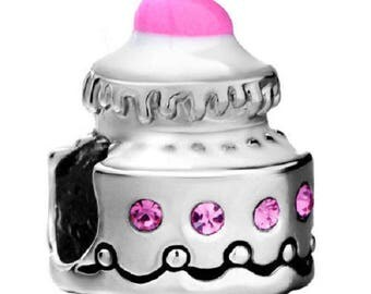CUP CAKE/silver/style murano charm bead pandora/cake/white/pink/Crystal swarovski/Pearl European/bead lampwork/enamel/bead/bangle.