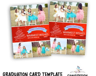 INSTANT DOWNLOAD - Christmas Card Template, Holiday Card Template, Christmas Photo Card, Holiday Christmas Card Template, Christmas Card