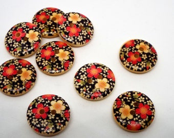 8 Wooden Floral Blossom Print 2 hole Buttons 18mm