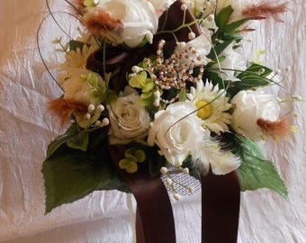 Brown and cream colored bridal or bridesmaid bouquet