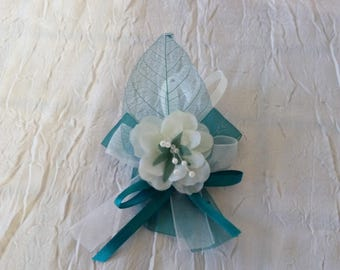 Boutonniere, brooch color white wedding / teal
