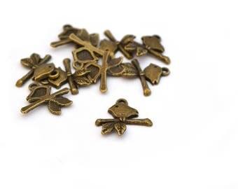 10 charms birds on branch bronze