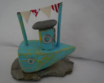 Rustic Wooden Fishing Boat made from Recycled and Found items: Hand Crafted Coastal Driftwood Art Boat