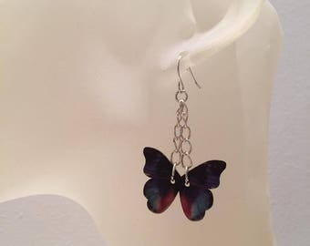 Butterfly earrings multicolor wood
