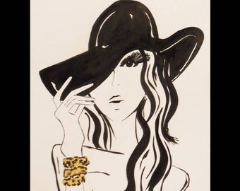 Ink drawing and the woman in Hat