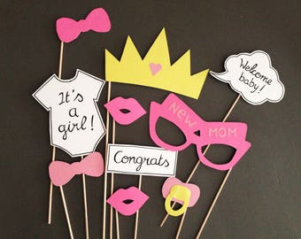 Photobooth accessories for girls - set of 10 babyshower