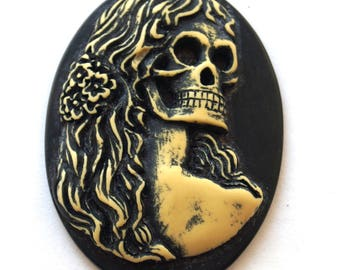 Cabochon cameo Gothic woman (30x40mm)