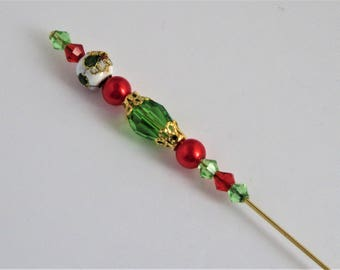 Vintage inspired Handmade Beaded Hatpin green gold red Cloisonne