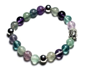 Buddha and gemstone - Fluorite bracelet