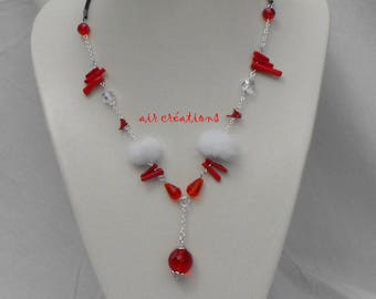 CL.0296 rubber cord Red Crystal Bead Necklace