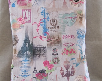 """Tote bag fabric coated """"Paris"""" pink and beige"""