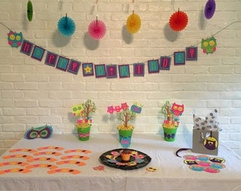 Neon Owls Birthday Party Box