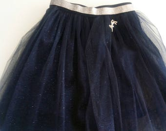 Midnight Blue tulle skirt with sequins