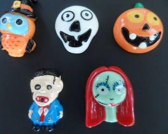 5 cabochons craft Halloween Pumpkin witch 25 mm