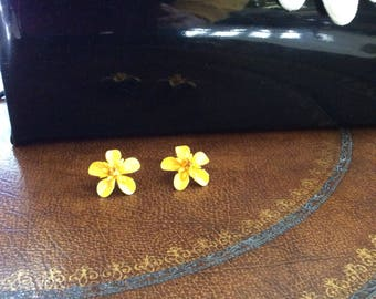 ON HOLD Antique Yellow  Earrings, 60's Vintage Yellow Floral post earrings , Mid Century modern Earrings , MCM earrings,Yellow floral, Vtg F