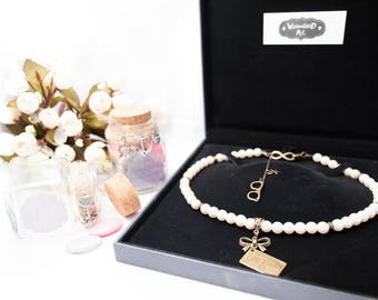 """Necklace cream pearls bronze Love Letters and glasses """"Parisienne"""""""