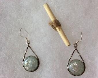 Ancient roman glass earrings, sterling silver