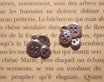 """silver metal 2 """"3 small buttons"""" charms"""
