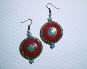 Earrings red Kathmandu