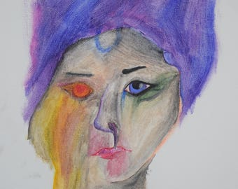 The Burning Girl- 11x14, mixed paints, original, portrait,bright colors, wall decor
