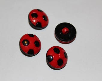 Fancy button patterned red football kids