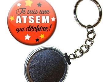 Keyring Badge 38 mm - I'm a school that rocks orange kindergarten kids gift