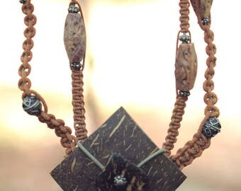 Macrame, coconut pendant leather necklace, Metal beads