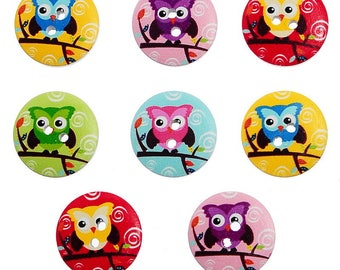 5 wooden buttons - Colorful owls on white 20MM - 2 holes - OWL