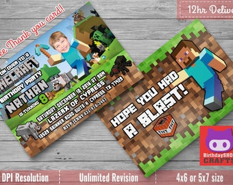 Minecraft Birthday Invitation with Custom Face Photo and Free Thank you card!  (Not an Official Minecraft Product)