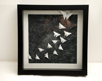 Frame in origami, paper Butterfly flight