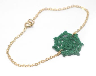 Gold Gold Filled chain bracelet, green, handmade