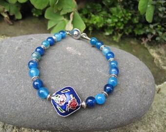 Blue agate Beads Bracelet Pearl enamel